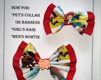Toy Story BOW for pet collar or harness, girl's hair clip or girl's hair tie, or men's neck strap with charm