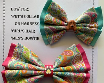 Paisley BOW for pet's collar or harness, girl's hair tie or hair clip, or men's neck strap with charm
