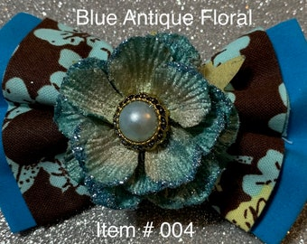 Blue Vintage Floral BOW for pet's collar or harness, girl's hair clip or hair tie, or men's neck strap with charm