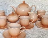 Vintage 6 Mikasa Spring Amaryllis Laslo tea set teapot creamer sugar teacup saucers 17 piece ceramic peach orange floral petal Nikko Noritak