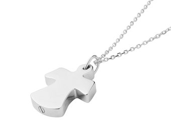 with a secret pocket for remains Cremation Jewelry with 18 Sterling Silver chain Sterling Silver Pet Half-Cylinder Keepsake Necklace