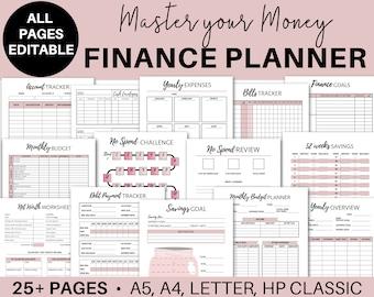Bill Expense  Templates Pack  A4 Letter /& Half Size Financial Worksheet A5 Income Finance Printable Kit for Binder Planner  Budget
