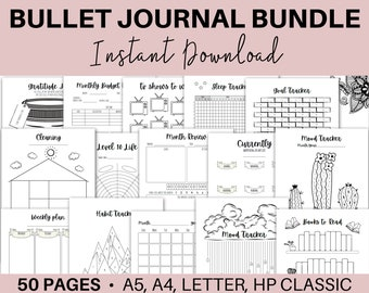 Bullet Journal Printables, Bullet Journal Bundle, Trackers, Printable Bujo Inserts, Weekly Spread, Bujo Templates,  A4 A5 Letter HP Classic