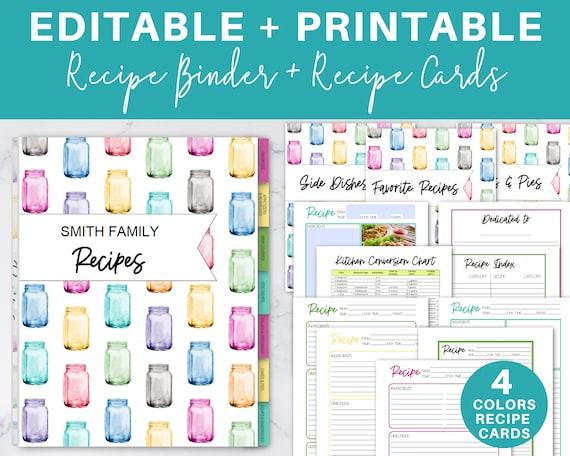 Editable Recipe Binder  Printable Recipe Cards PDF  / Recipe