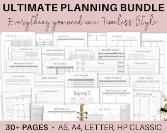 A5 Life Planner Bundle, Printable Daily Planner Pages, Filofax A5 planner inserts, Mo2p, Wo2p, A4, Letter Size, Mom Planner, Weekly Planning
