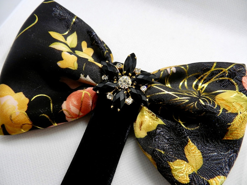 Fashion bow Woman brooch Black gold bow Cute bow Lovely pin Pin brooch Brocade bow Special occasion bow Pattern bow Unique gift