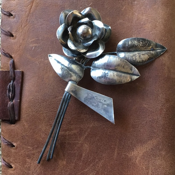Large Vintage Sterling Silver Floral Brooch Circa