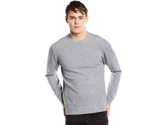Men/'s Round Neck Sweatshirt Pullover Long Sleeves Jumper Plain Sportwear