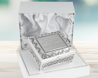 Wish or Keepsake Trinket Box Prayer Includes Paper and Pencil Inside I Do Wedding Couple Personalized Engraved Custom White Box