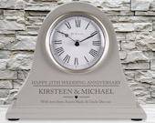 25th Wedding Anniversary couple gift Personalised Engraved Grey Mantel Clock Silver Anniversary Gifts Son Daughter Mum Dad Brother etc