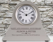 10th Wedding Anniversary couple gift Personalised Engraved Grey Mantel Clock Tenth Anniversary Gifts Son Daughter Brother Sister Friend etc