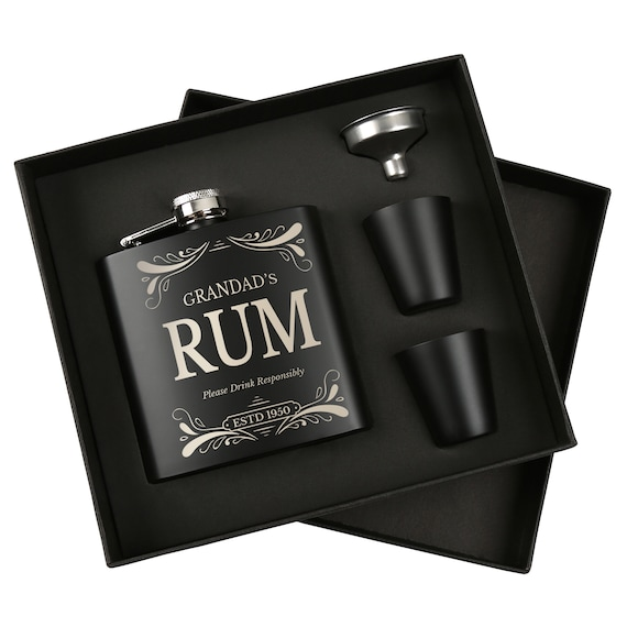 Personalised//Engraved RUM Hip Flask Gift For Birthday//Grandad//Daddy//Dad//Papa