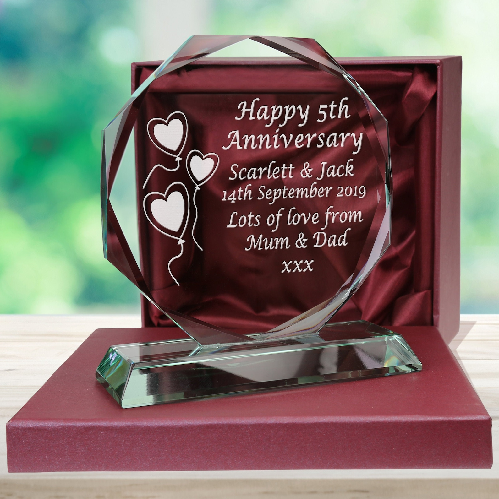 Personalised engraved cut glass