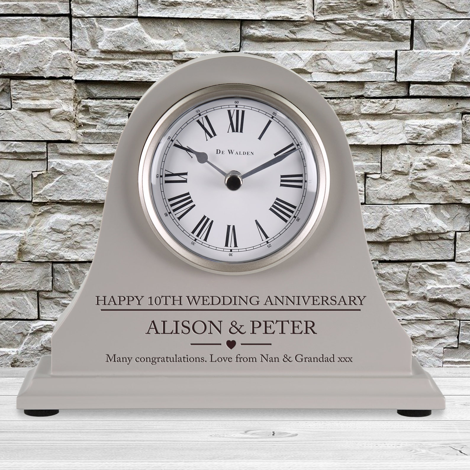 Personalised engraved mantel clock