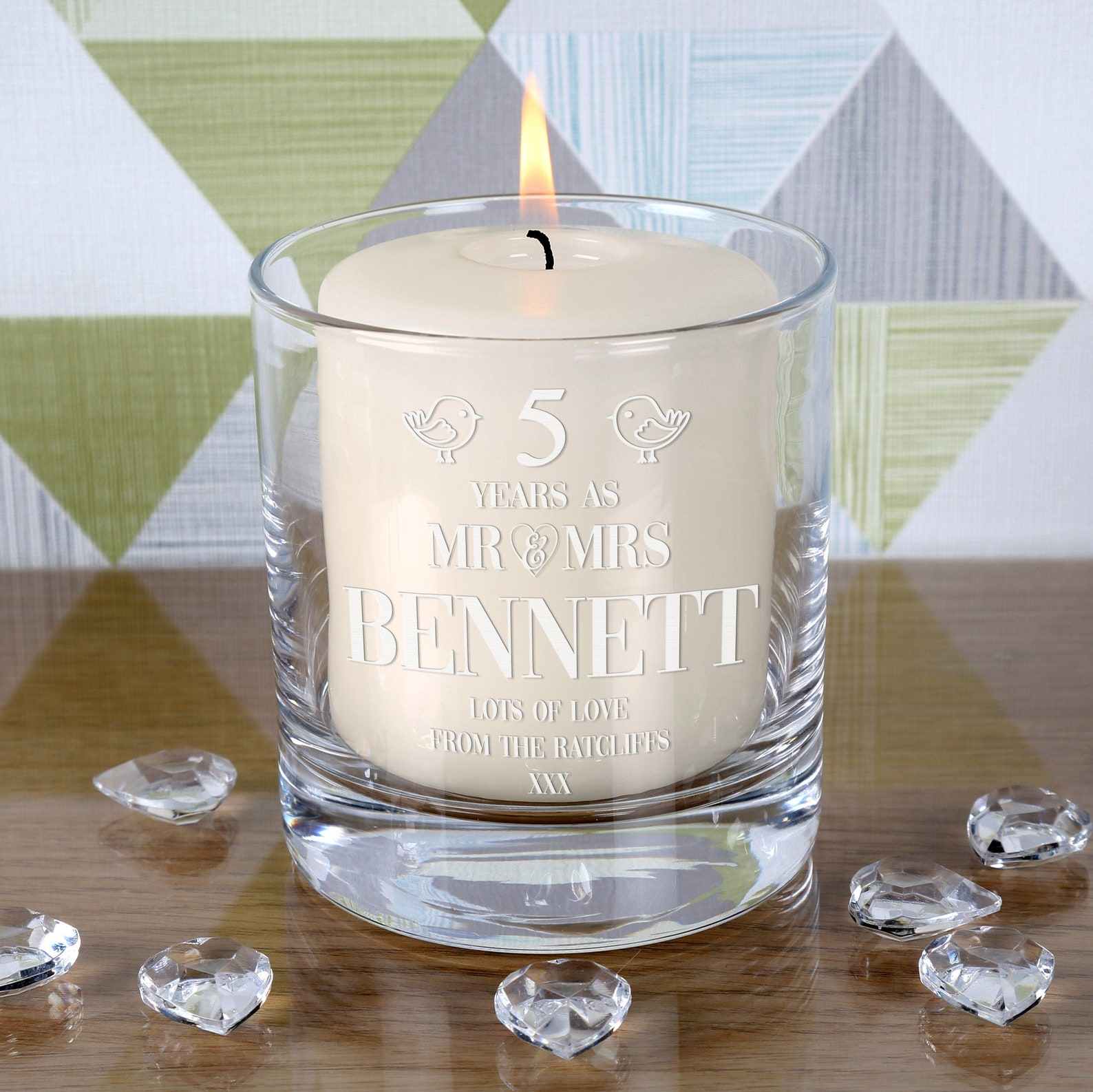 Engraved personalised anniversary candle