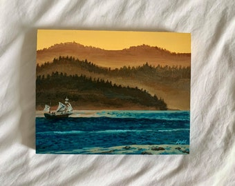 WATER LANDSCAPE, Original Painting of Alert Bay, British Columbia. Acrylic on Wood, Water with Mountains Painting