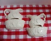 Farm house style White bowl and Pitcher wall pocket Pair Decorama Inc. Japan grape leaf design ceramic