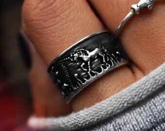 Pony Jewelry Customizable Sterling Silver Horse Ring Mustang Ring custom Horseshoe Birthstone Stallion Rings