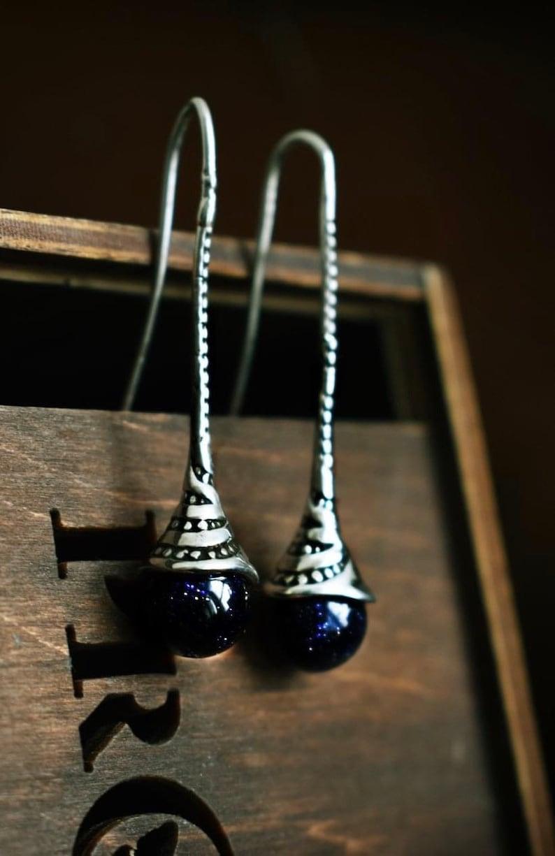 Designer Earrings Sterling Silver Druzy Earrings Drop Earrings Aventurine Jewelry Long Earrings Aventurine Stone Earrings