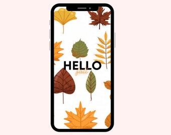 Hello Fall Leaves Wallpaper | iPhone Wallpaper | Aesthetic Wallpapers | Pumpkins | Phone Wallpaper | Fall Wallpaper | Happy Fall Wallpaper
