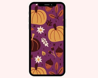 Fall Pumpkins Purple Wallpaper | iPhone Wallpaper | Aesthetic Wallpapers | Pumpkins | Phone Wallpaper | Fall Leaves | Autumn Leaves Brown