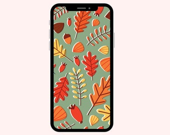 Fall Leaves Green Wallpaper | iPhone Wallpaper | Aesthetic Wallpapers | Pumpkins | Phone Wallpaper | Fall Leaves | Autumn Leaves Brown