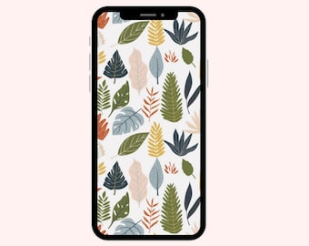 Green Fall Leaves Wallpaper | iPhone Wallpaper | Aesthetic Wallpapers | Pumpkins | Phone Wallpaper | Fall Wallpaper | Phone Wallpapers