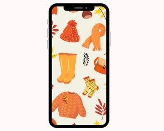 Fall Wallpaper Clothing | iPhone Wallpaper | Aesthetic Wallpapers | Pumpkins | Phone Wallpaper | Fall Leaves Wallpaper | Phone Wallpapers