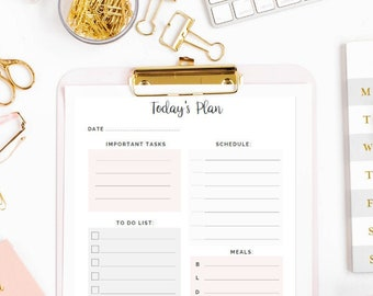 Daily Planner Printable | To Do List | Habit Tracker | Meal | Business Planner Scheduler | Weekly | Monthly | DIGITAL DOWNLOAD