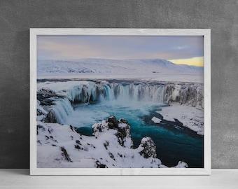 Godafoss Iceland Photography Print, Modern Wall Art, Waterfall Print, Nature Photography, Iceland Gift