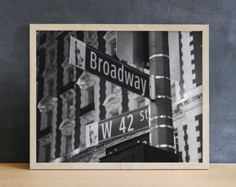 Broadway Sign Photography Print, Black & White, New York Print, Musical Theater Gift, Broadway Posters