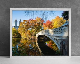 Fall in New York Photography Print, Office Wall Art, Bow Bridge Central Park, Autumn Wall Decor, Leaves Changing