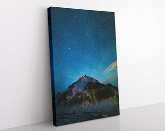 Iceland Mountain Astrophotography Canvas Print, Office Wall Art, Starry Night Sky, Nature Photography, Celestial Artwork