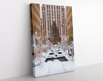 New York Christmas Tree Canvas, City Photography, Rockefeller Center, Seasonal Home Decor, New York Snow