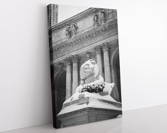 NY Library Lion Canvas Print, Black and White, New York Snow, Office Wall Art, Lion Statue