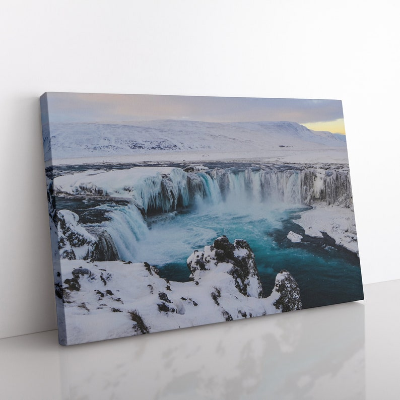 Godafoss Iceland Canvas Print Modern Wall Art Waterfall image 0