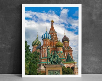 Moscow Art Print, International Art, St Basils Cathedral, Church Photography, Req Square