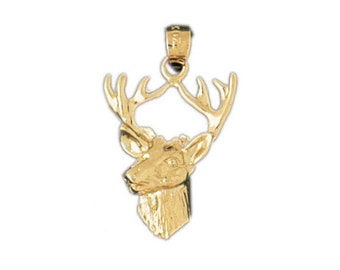 Gold Plated Sterling Silver Deer Head Pendant Bead f// DIY Jewelry Necklace 99775