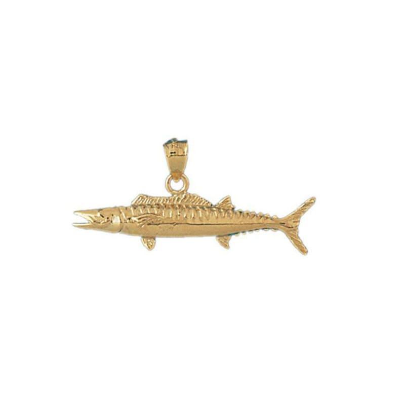 14k Yellow Gold Salmon Pendant Nautical Charm Fisherman Gift
