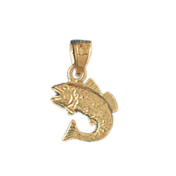 14k Solid Yellow Gold Bass Fish Pendant Nautical Charm Fisherman Gift