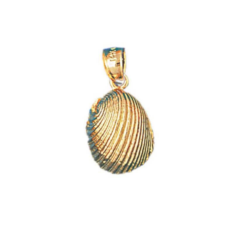 14k Yellow Gold Shell Nautical Charm Pendant