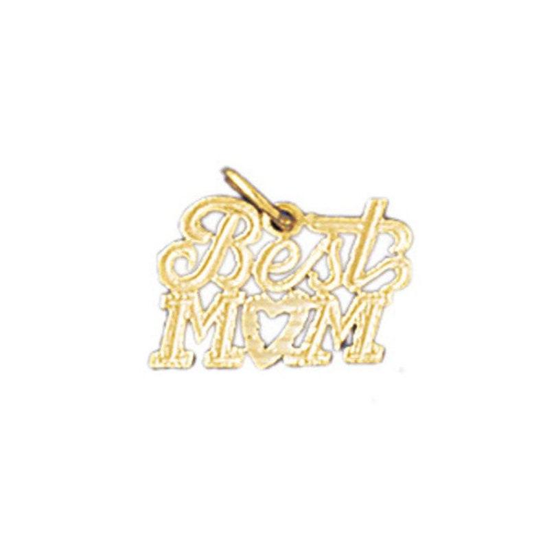 14k Gold Best Mom Pendant Birthday Gift Mothers Day Gift for Mom