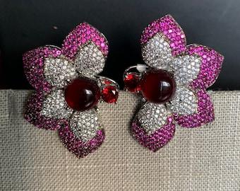 Victorian Rose Gold earringsCZ StudsIndian JewelryIndian EarringsPakistani JewelrySabyasachiCZ JewelryCrystal EarringsCubic Zirconia