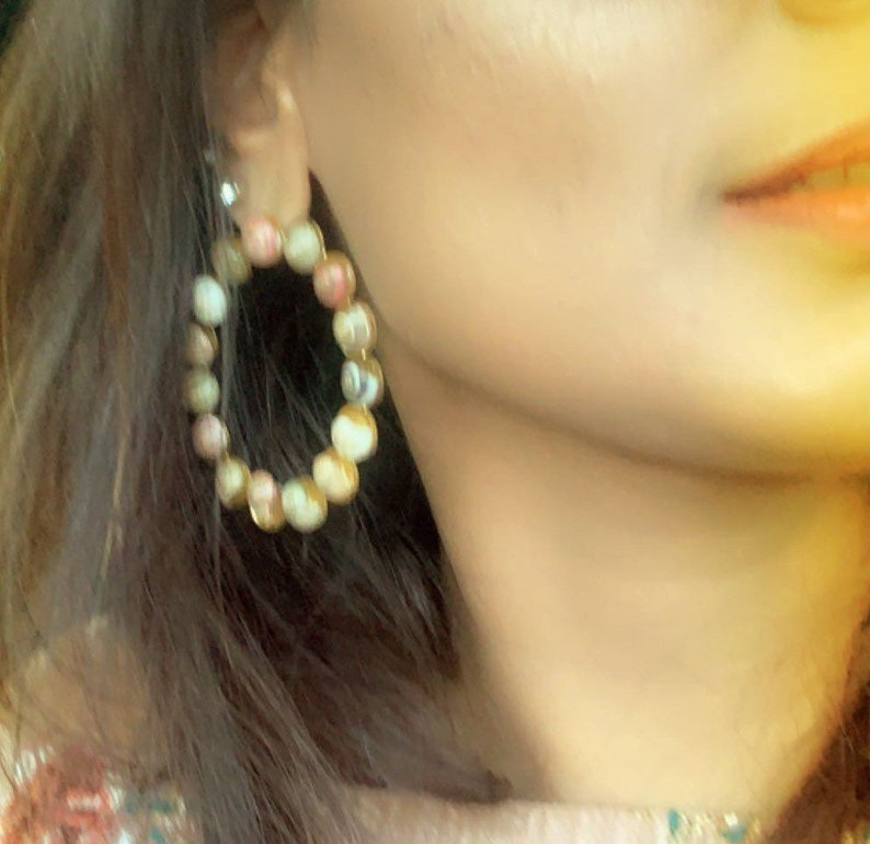 Big HoopsShell HoopsShell EarringsLightweightStatement EarringsDesigner EarringsIndian JewelryBollywood EarringsModern Earrings