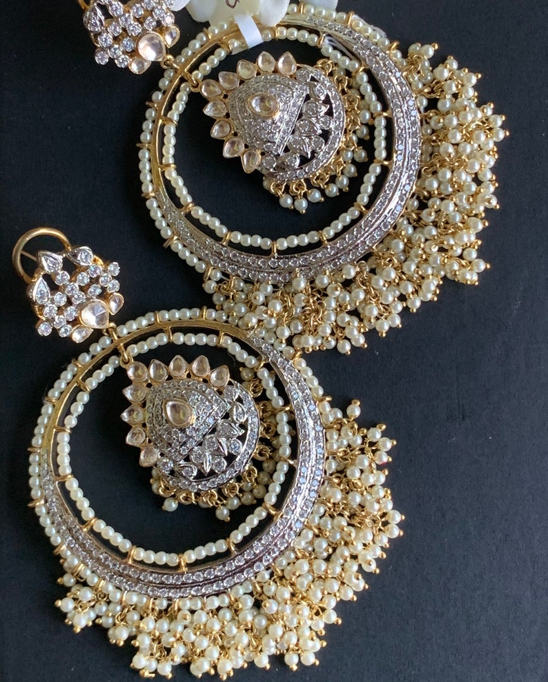 Kundan CZ EarringsCocktail EarringsStatement EarringsIndian JewelryCubic ZirconiaBollywood EarringsPakistani Earrings