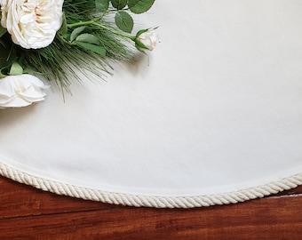 "Extra Large 72"" Christmas Tree Skirt~ Creamy White ~ Yuletide Christmas~ Cottage Chic~ Coastal Christmas~ Modern Farmhouse Home"