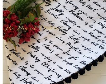 Modern Farmhouse Christmas Tree Skirt~ Christmas Script ~   Large Tree Skirt~ Black and White Holiday~
