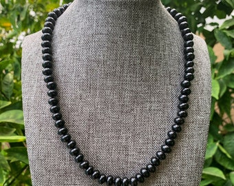 Sterling Silver clasp Evil Eye Candy Necklace Hand-Knotted Mother of Pearl /& Black Onyx beaded necklace