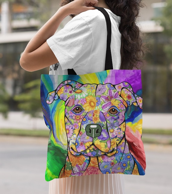 I Don/'t Give a Pit Canvas Tote Bag Gift for Dog and Pit Bull Lovers 3 Sizes Available
