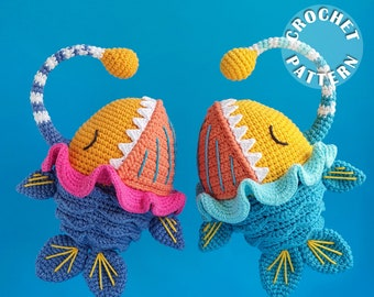 Sunny the angler fish   Amigurumi Crochet   PDF pattern  written and step by step photos